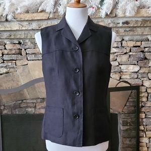 Talbots Black Linen Button Down Vest Top